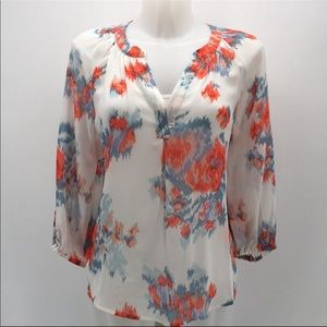 Joie silk printed blouse 3/4 sleeve v neck xs